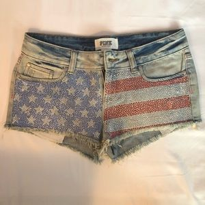 PINK USA Flag Jean Shorts!